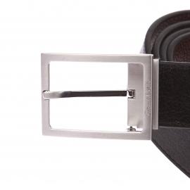 Coffret ceinture ajustable Calvin Klein Jeans en cuir réversible noir et marron foncé à boucles interchangeables