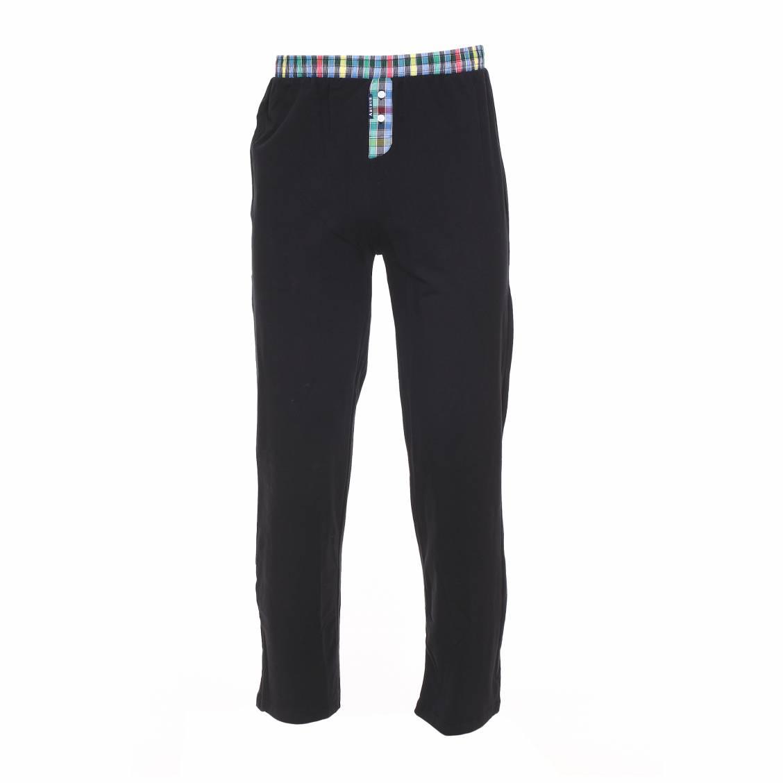 pantalon d 39 int rieur arthur en jersey stretch noir rue des hommes. Black Bedroom Furniture Sets. Home Design Ideas