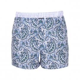 Caleçon Arthur Club en coton blanc à motifs cachemire bleus et verts