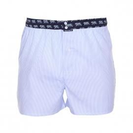 Caleçon Arthur Club en coton à fines rayures verticales bleu ciel et blanches à ceinture bleu marine à motifs tigres