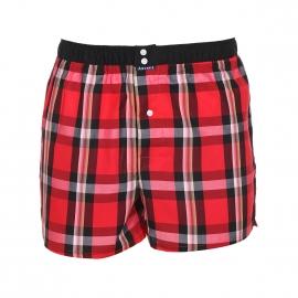 Caleçon Arthur Club en coton à carreaux rouges et noirs