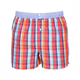 Caleçon Arthur Club en coton à carreaux rouges, orange et bleus