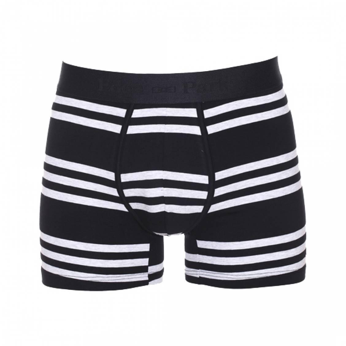 Boxer  en coton stretch noir � rayures horizontales gris clair