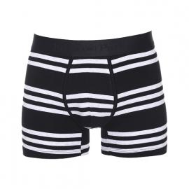 Boxer Eden Park en coton stretch noir à rayures horizontales gris clair