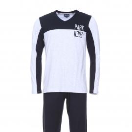 Pyjama long Eden Park en coton : tee-shirt manches longues bleu marine et gris clair et pantalon bleu marine