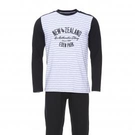 Pyjama long Eden Park en coton : tee-shirt manches longues New Zealand noir et gris et pantalon noir