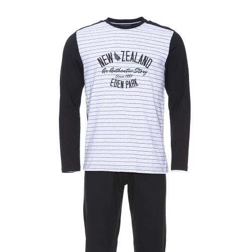 Pyjama long  en coton : tee-shirt manches longues new zealand noir et gris et pantalon noir