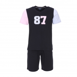 Pyjama court Eden Park en coton : tee-shirt manches courtes bleu marine 87 et short bleu marine