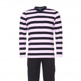 Pyjama long Eden Park en coton : tee-shirt manches longues à rayures bleu marine, rose pâle et gris clair et pantalon bleu marine