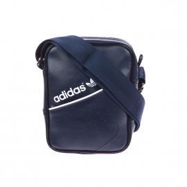 Sacoche Adidas à bandoulière en simili cuir bleu marine à bandes perforées