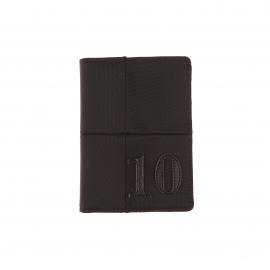 Petit portefeuille européen Eden Park en toile noire et surpiqûres ton sur ton