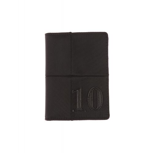 Petit portefeuille europ�en  en toile noire et surpiq�res ton sur ton