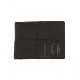 Petit portefeuille italien Eden Park en toile noire et surpiqûres ton sur ton