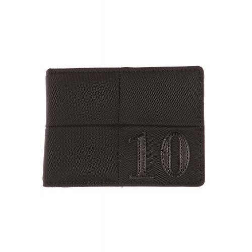 Petit portefeuille italien  en toile noire et surpiq�res ton sur ton