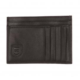Porte-cartes plat Eden Park en cuir noir
