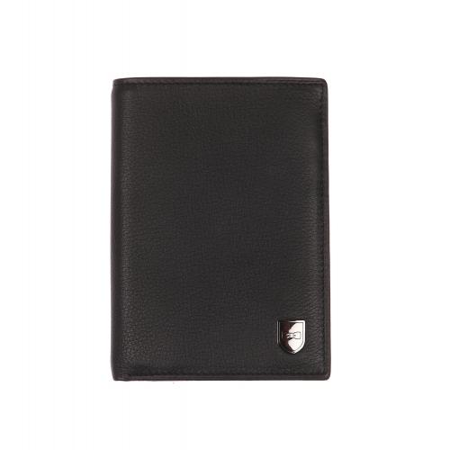 Portefeuille europ�en  en cuir textur� noir � 3 volets