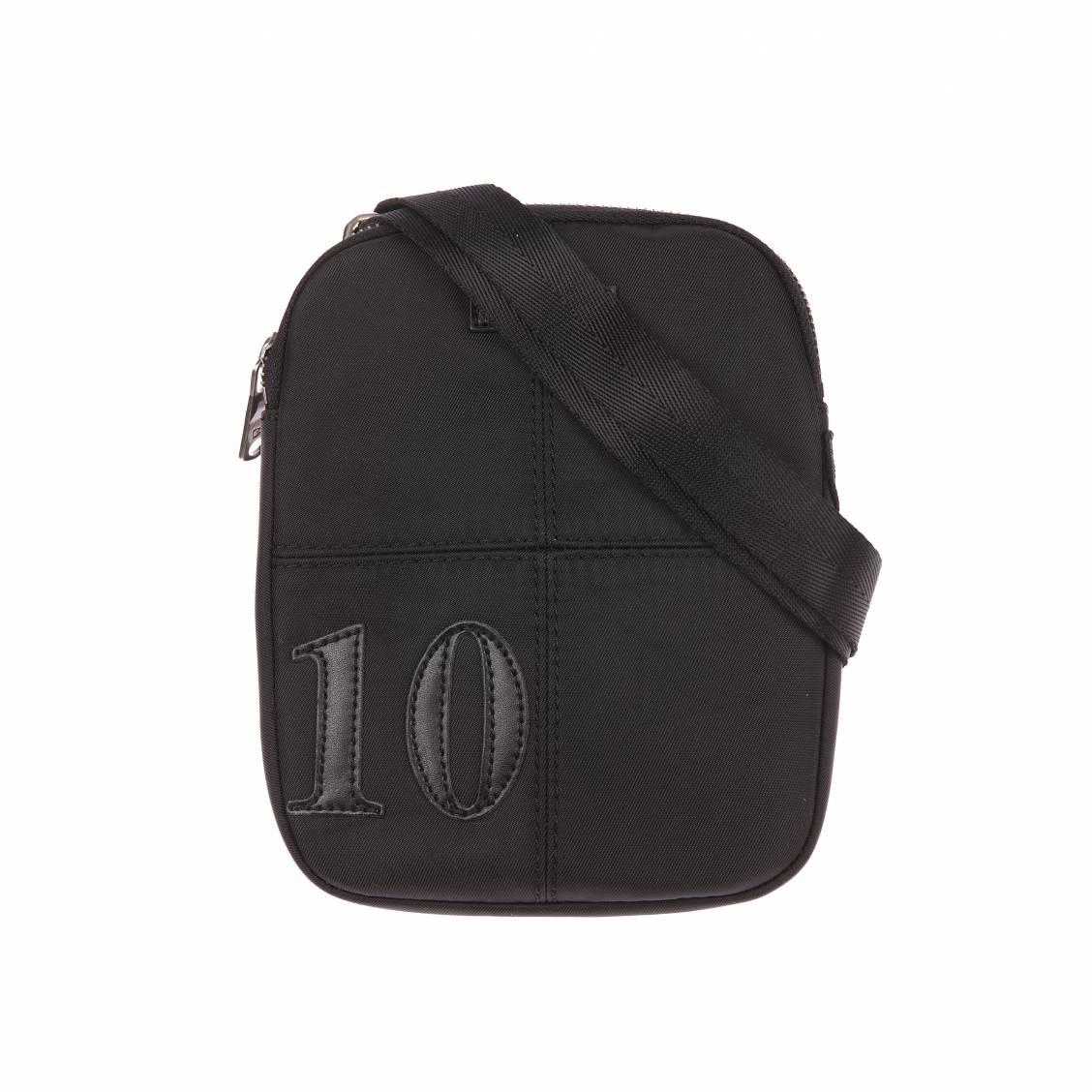 Sacoche plate zipp�e � bandouli�re  en toile noire et surpiq�res ton sur ton