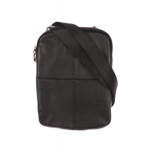 Sacoche plate zipp�e � bandouli�re  en cuir noir textur� et surpiq�res ton sur ton