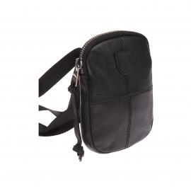 Sacoche plate zippée à bandoulière Eden Park en cuir noir texturé et surpiqûres ton sur ton