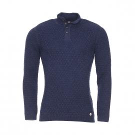 Pull col boutonné Héritage Armor Lux en laine bleu marine chiné