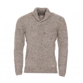 Pull col châle Héritage Armor Lux en laine gris/beige