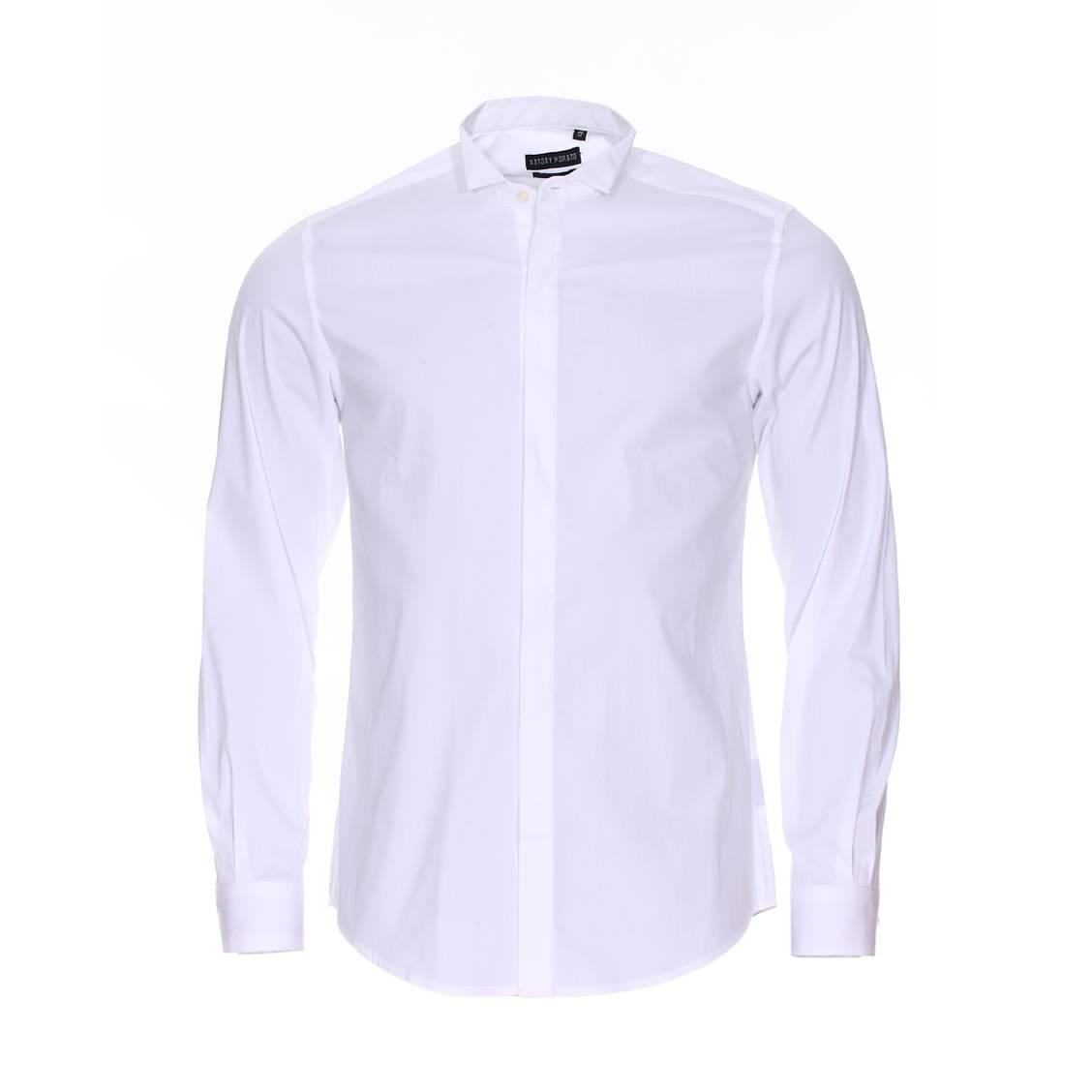 Chemise cintrée cérémonie  en coton stretch blanc à col cassé et boutonnière dissimulée