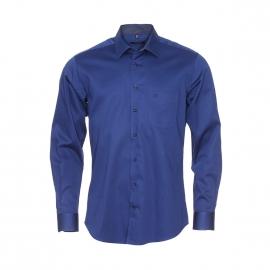 Chemise coupe droite Jean Chatel en coton bleu marine