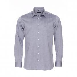 Chemise coupe droite Jean Chatel en coton gris à motifs chevrons