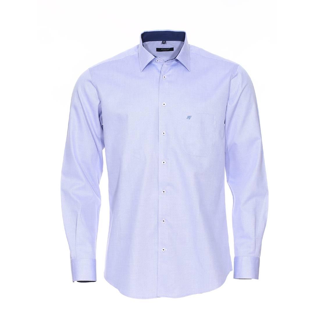 Chemise coupe droite  en coton bleu ciel à motifs