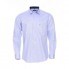 Chemise coupe droite Jean Chatel en coton bleu ciel à motifs
