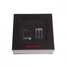 Coffret ceinture Pierre Cardin en cuir réversible noir et marron foncé à boucles interchangeables : arrondie et pleine ajourée