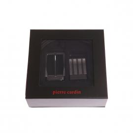 Coffret ceinture Pierre Cardin en cuir réversible noir et marron foncé à boucles interchangeables : classique et pleine
