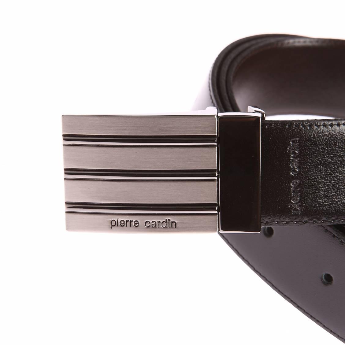 ... Coffret ceinture Pierre Cardin en cuir réversible noir et marron foncé  à boucles interchangeables   classique ... 0f998305c99
