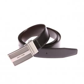 Coffret ceinture Pierre Cardin en cuir réversible noir et marron foncé à boucles interchangeables : classique et pleine fantaisie