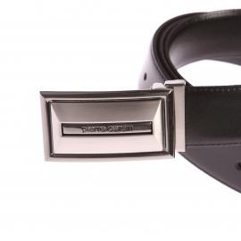 Ceinture ajustable Pierre Cardin en refente de cuir noir à boucle pleine