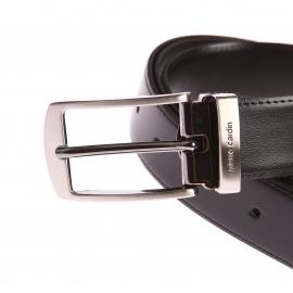 Ceinture ajustable Pierre Cardin en refente de cuir de vachette noir à boucle classique rectangulaire