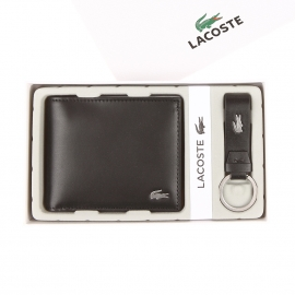 Coffret Lacoste : portefeuille italien et porte-clés en cuir lisse noir