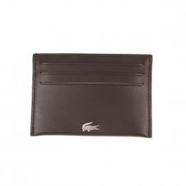 Porte-cartes Lacoste en cuir lisse marron foncé avec logo métallique incrusté
