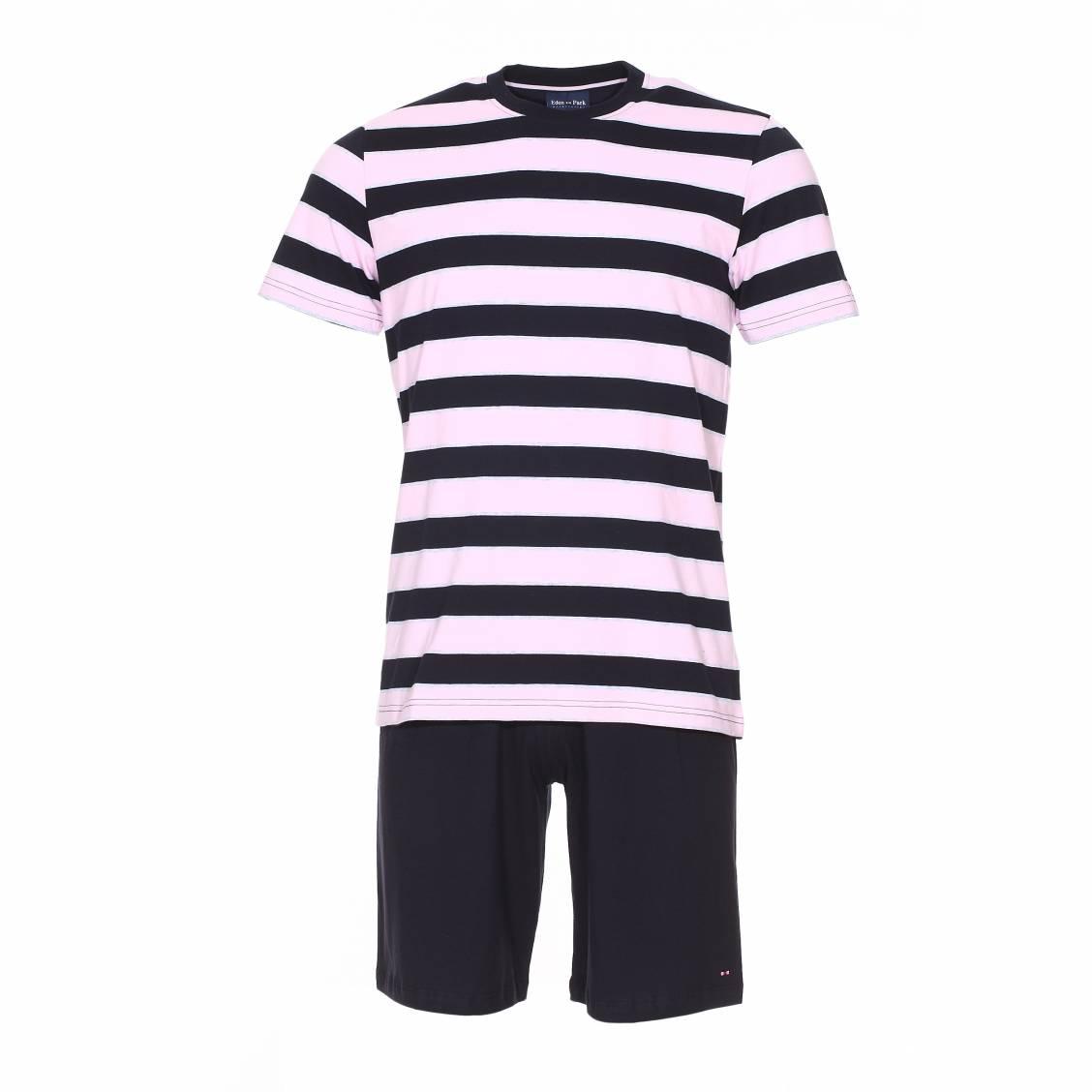Pyjama court  en coton : tee-shirt manches courtes � rayures bleu marine, rose p�le et gris clair et short bleu marine