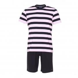 Pyjama court Eden Park en coton : tee-shirt manches courtes à rayures bleu marine, rose pâle et gris clair et short bleu marine