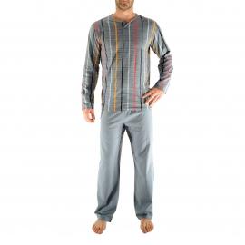 Pyjama long Gex Christian Cane : Tee-shirt manches longues gris à rayures et pantalon gris