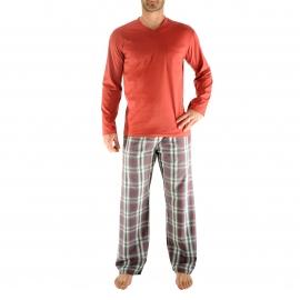 Pyjama long Gaetan Christian Cane : Tee-shirt manches longues rouges et pantalon à carreaus gris foncé et rouges