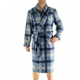 Robe de chambre Givry Christian Cane à carreaux bleu marine et bleu clair