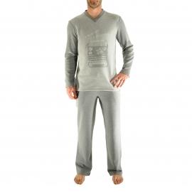 Pyjama Gidéon Christian Cane : Tee-shirt  manches longues imprimé et pantalon gris clair