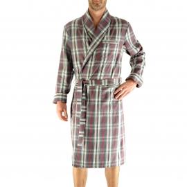 Robe de chambre légère Gaetan Christian Cane gris foncé à carreaux noirs, blancs et rouges