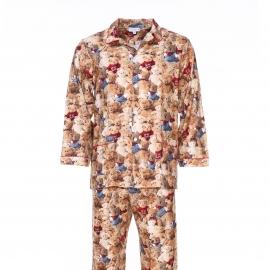 Pyjama long Arthur : Veste boutonnée et pantalon à motifs ours en peluche