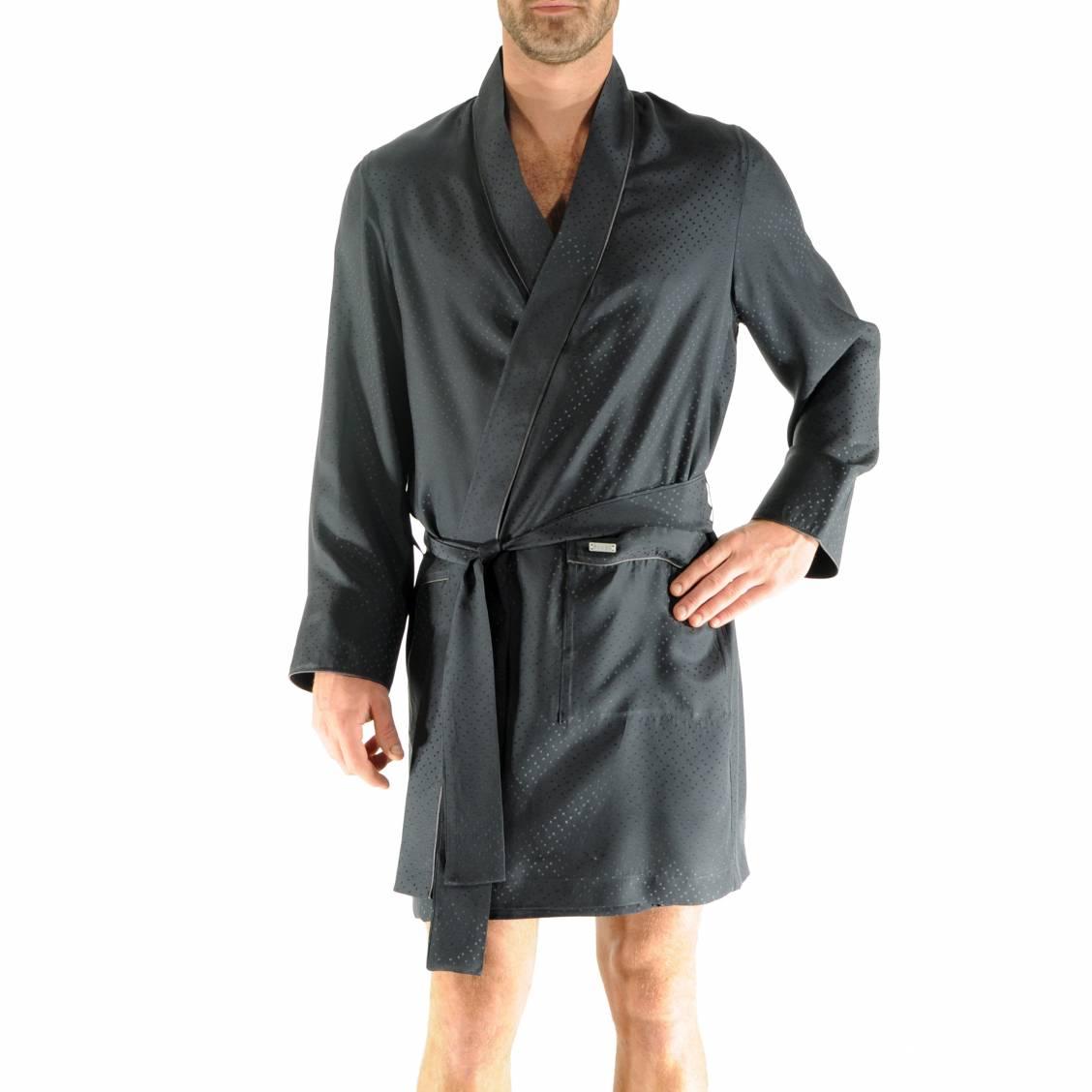 kimono court jaipur pilus en soie gris anthracite motifs en ton sur ton rue des hommes. Black Bedroom Furniture Sets. Home Design Ideas