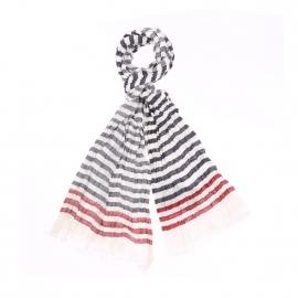 Chèche Armor Lux en coton blanc à rayures bleu marine et rouges
