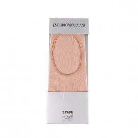 Lot de 2 paires de socquettes Emporio Armani en coton stretch beige nude