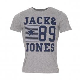 Tee-shirt col rond Jack&Jones en coton gris clair flammé et floqué